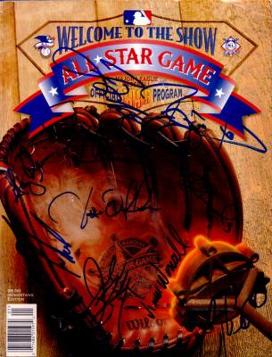 1995 MLB All-Star Game autographed program Craig Biggio Jim Edmonds Tino Martinez Lee Smith