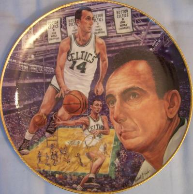 Bob Cousy autographed Boston Celtics Gartlan commemorative plate