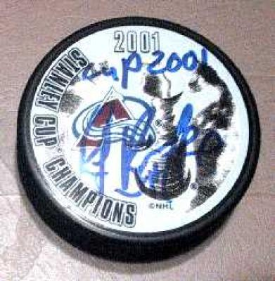 Ray Bourque autographed Colorado Avalanche Stanley Cup Champions puck inscribed Cup 2001