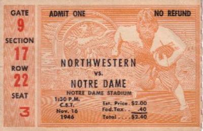 1946 Notre Dame (National Champions) vs Northwestern ticket stub