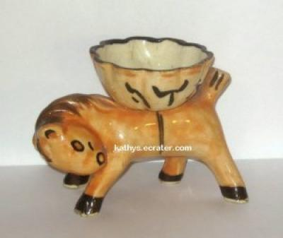 Dish: Vintage Japan Donkey with Basket Ceramic Trinket Dish