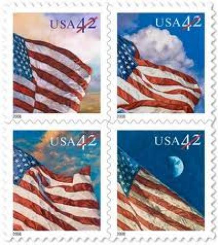 Stamps; CROPPED set of four flag stamps. From the U.S. Postal