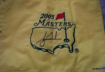 Tiger Woods autographed 2005 Masters golf pin flag UDA ltd edit 500