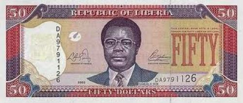 Liberian banknotes; 50 dollars