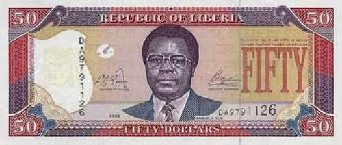 Liberian banknotes; 50 dollars