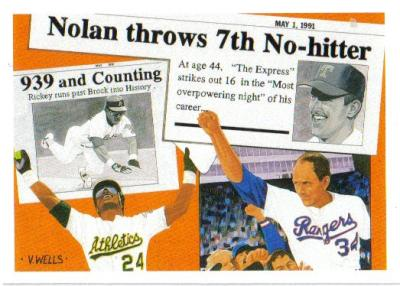 Rickey Henderson & Nolan Ryan 1991 Upper Deck insert card SP2 MINT