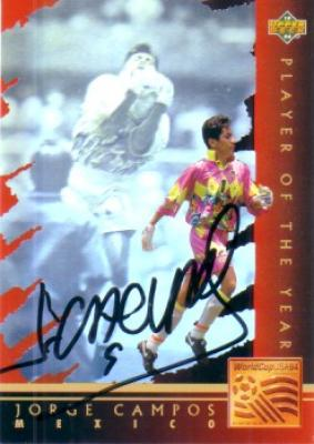 Jorge Campos autographed Mexican National Team 1994 Upper Deck hologram card