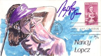Nancy Lopez autographed hand painted Babe Zaharias First Day Cover cachet