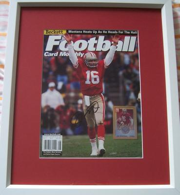 Joe Montana autographed San Francisco 49ers Beckett Football cover matted & framed