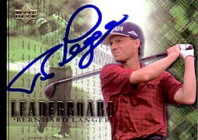 Bernhard Langer autographed 2001 Upper Deck Leaderboard golf card