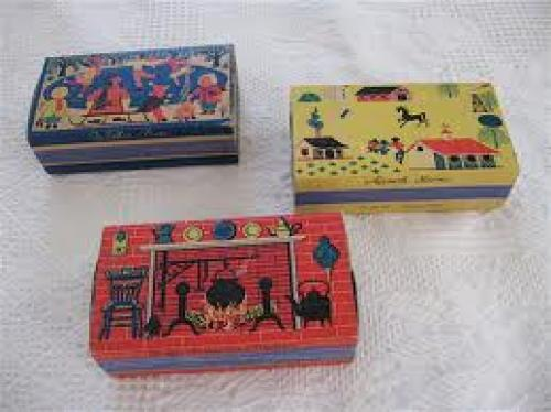 Matchboxes; 1950s Set of Early Americana Matchboxes