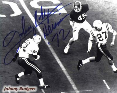 Johnny Rodgers autographed 8x10 Nebraska photo inscribed Heisman 72