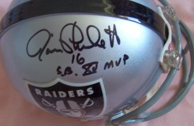 Jim Plunkett & Tom Flores autographed Oakland Raiders mini helmet