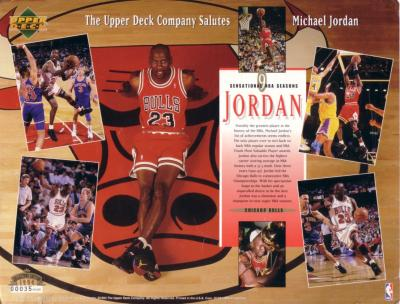 Michael Jordan 9 Sensational NBA Seasons 1994 Upper Deck commemorative sheet