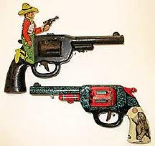 "Early USA tin plate ""Click"" toy play guns c1940-"