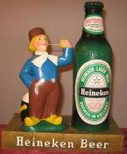 Vintage Heineken Dutch Boy &amp; Bottle Beer Sign