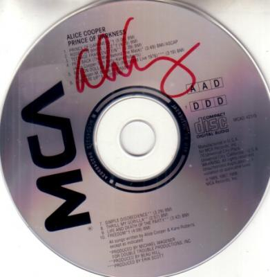 Alice Cooper autographed Prince of Darkness CD