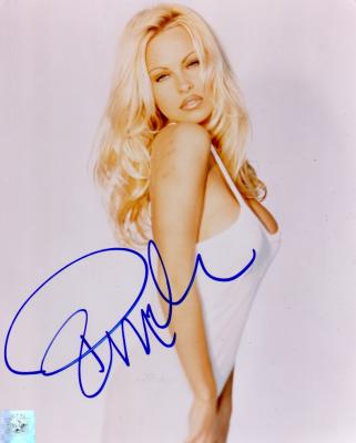 Pamela Anderson autographed sexy 8x10 photo (Superstar Greetings)