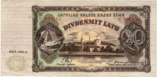 Banknotes; 20 latu Latvia; Year: 1935