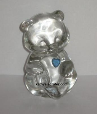 Fenton Clear Glass Bear with Light Blue Heart Animal Figurine
