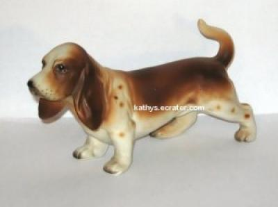 Vintage Japan Ceramic Basset Hound Dog Animal Figurine