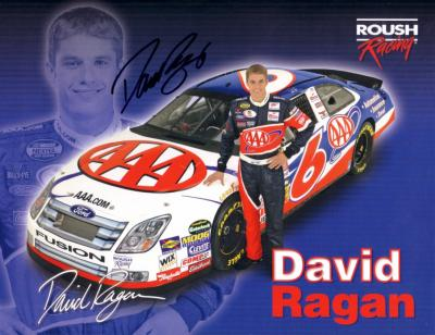 David Ragan (NASCAR) autographed 8 1/2 by 11 Roush Racing photo card