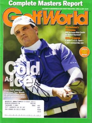 Zach Johnson autographed 2007 Masters Golf World magazine
