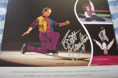 Scott Hamilton autographed Stars on Ice 2000 skating calendar page