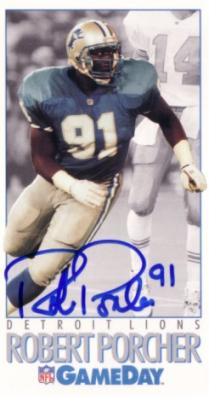 Robert Porcher autographed Detroit Lions 1992 GameDay card