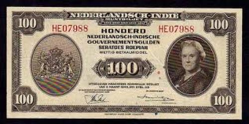  Netherlands Indies paper money 100 Gulden, 1943 Issue