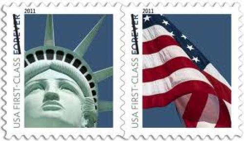 Stamps; USA; Lady Liberty and U.S. Flag (Forever) Format: Serie of 2 stamps