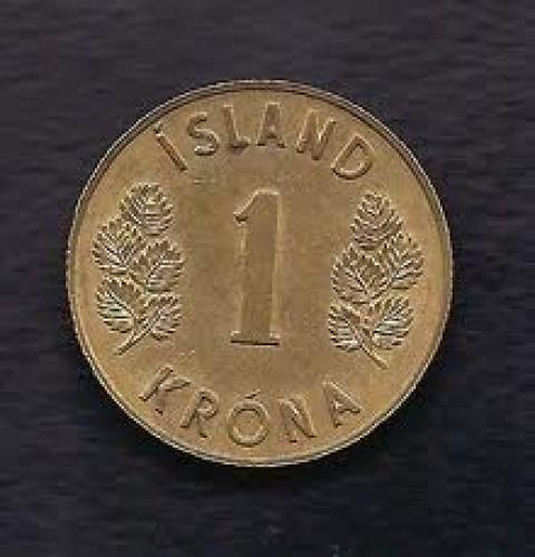 Coins; Iceland 1 Krona 1973 Coin