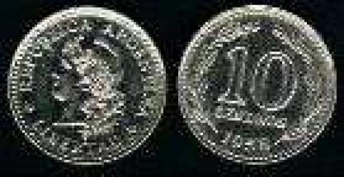 10 Centavos; Year: 1957-1959; (km 54); Nickel-Clad-Steel; LIBERTAD
