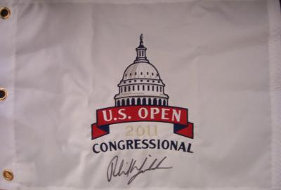 Phil Mickelson autographed 2011 U.S. Open embroidered flag