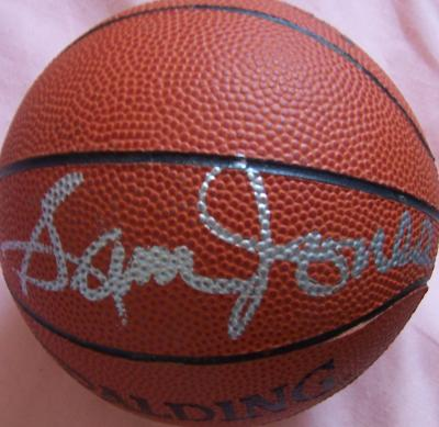 Sam Jones (Celtics) autographed NBA mini basketball