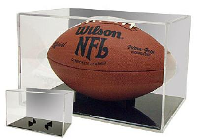 Football display case holder with black base & mirrored back
