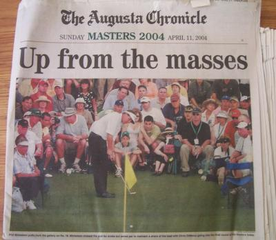 2004 Masters Augusta Chronicle newspaper (Phil Mickelson)