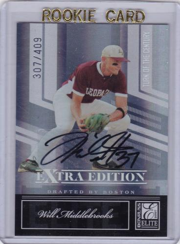 2007 DONRUSS ELITE ROOKIE AUTOGRAPH SERIAL #/409 WILL MIDDLEBROOKS ROOKIE BOSTON RED SOX