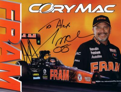 Cory Mac (NHRA) autographed Fram 8x11 photo card (to Alex)