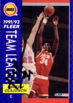 Hakeem Olajuwon autographed Houston Rockets 1991-92 Fleer Team Leaders card