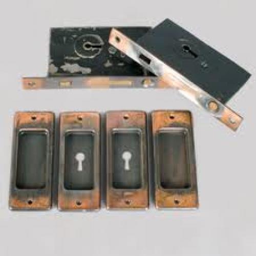 Antique Copper Double Pocket Door Set; c1905