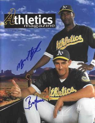 Miguel Tejada & Ben Grieve autographed 1998 Oakland A's magazine