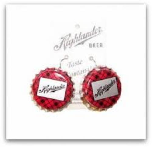 Breweriana; Vintage Highlander Beer Cap Earrings