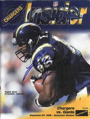 Freddie Jones autographed San Diego Chargers 1998 program