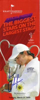 Lorena Ochoa autographed 2009 LPGA Kraft Nabisco Championship pairings guide