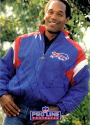 O.J. Simpson certified autograph Buffalo Bills 1991 Pro Line card