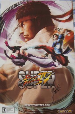 Yoshinori Ono autographed Super Street Fighter IV poster
