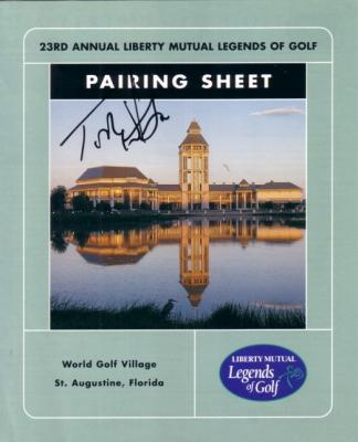 Tom Watson autographed 2000 Legends of Golf pairing sheet