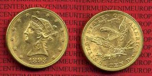 Coins; USA 10 Dollars Liberty, Frauenkopf, 1893 Gold 10 Dollars 1893