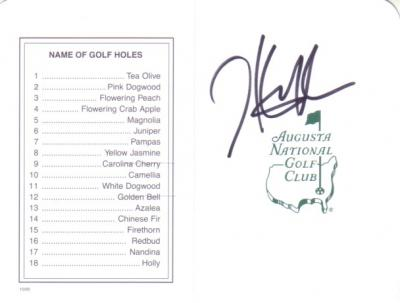 Hunter Mahan autographed Augusta National Masters scorecard